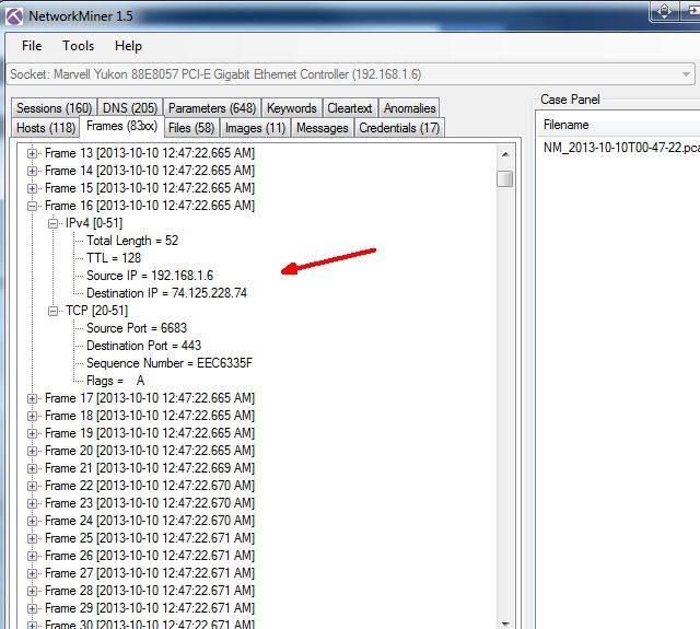 easyservice network miner frames