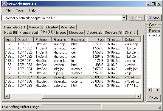 network miner files